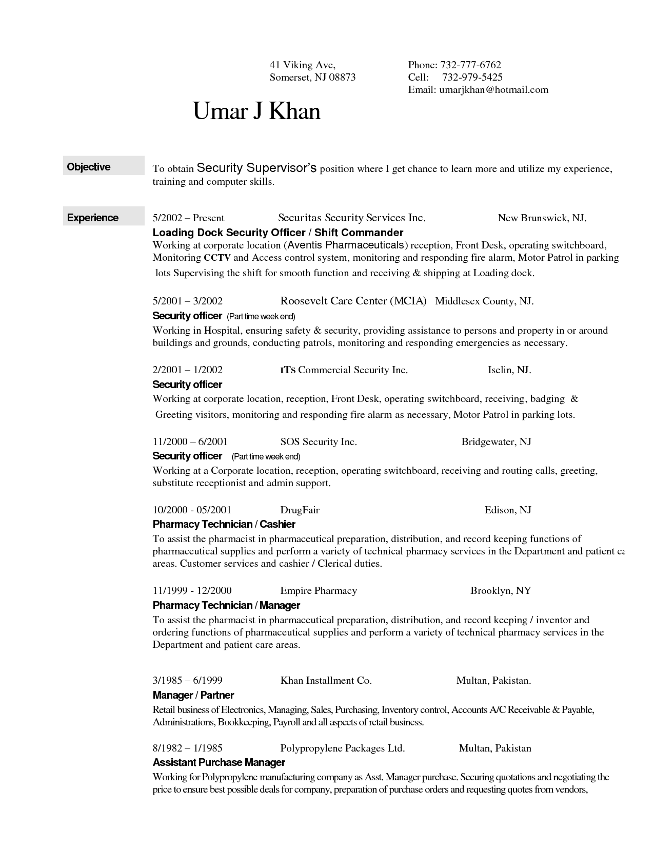Resume For Security Guard