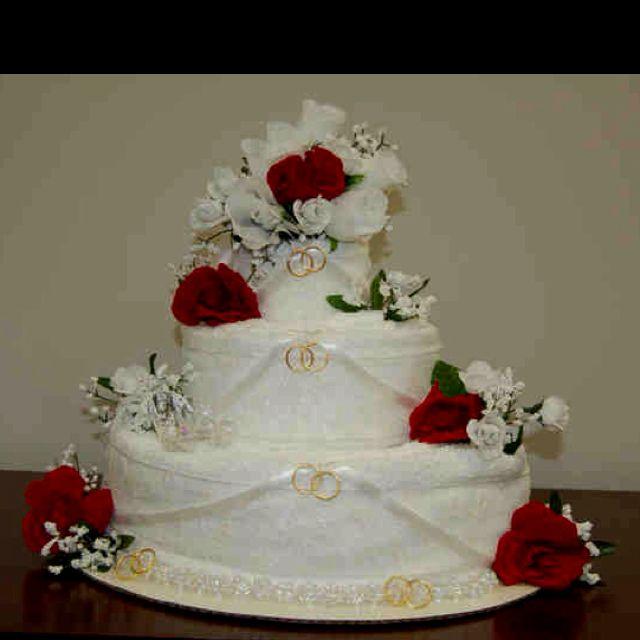 pin wedding towel cakes bridal shower cake on pinterest. Black Bedroom Furniture Sets. Home Design Ideas