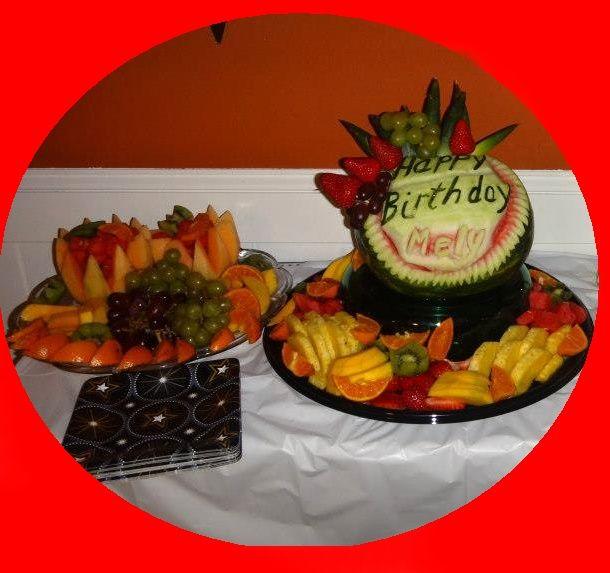 Birthday fruit arrangement vegetable carving