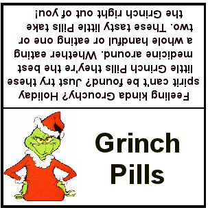 Grinch Pill Printable Tag"