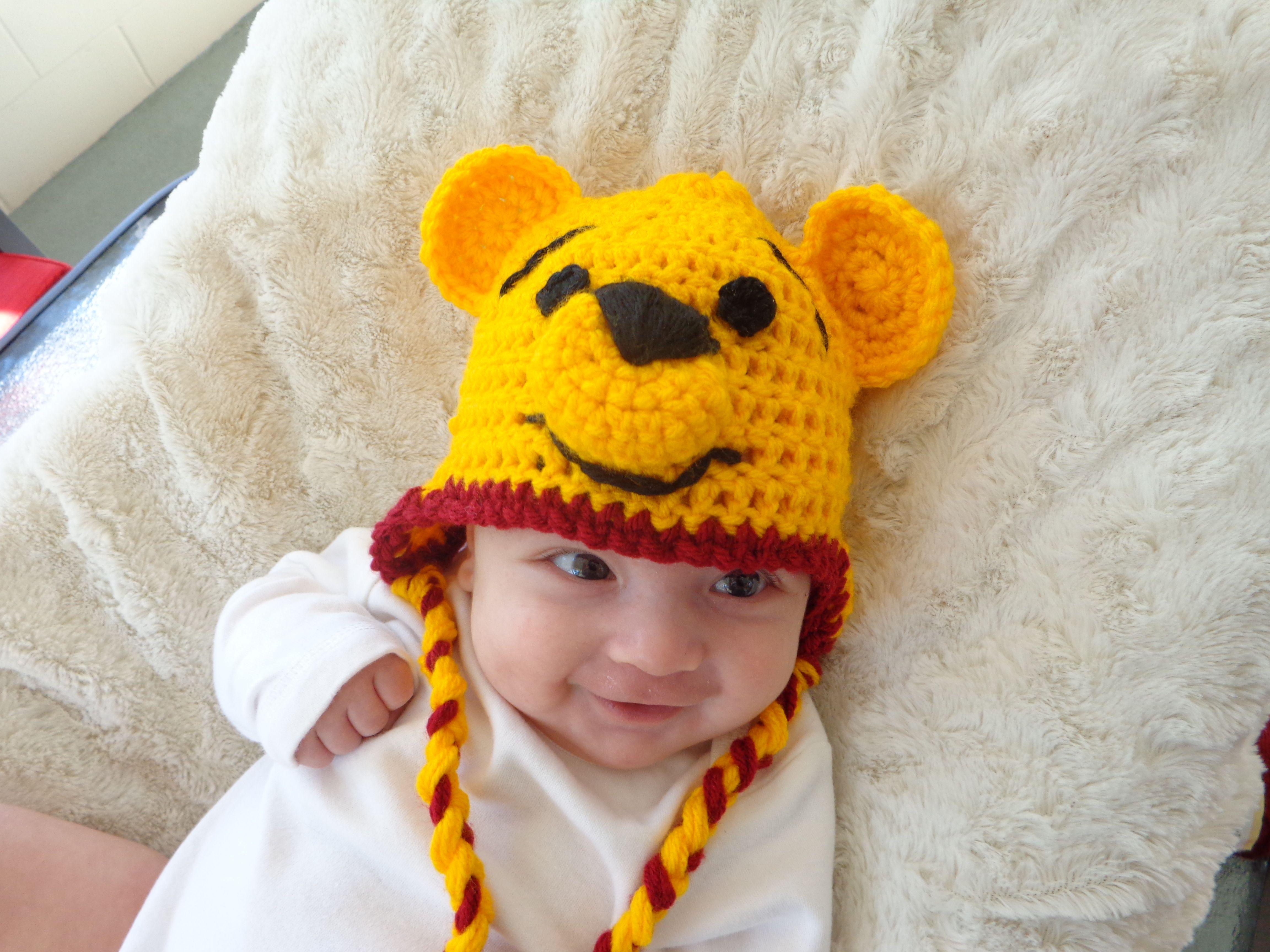 Crochet Pooh Bear Hat Pattern : Crochet Winnie the Pooh hat Baby Crochet Pinterest