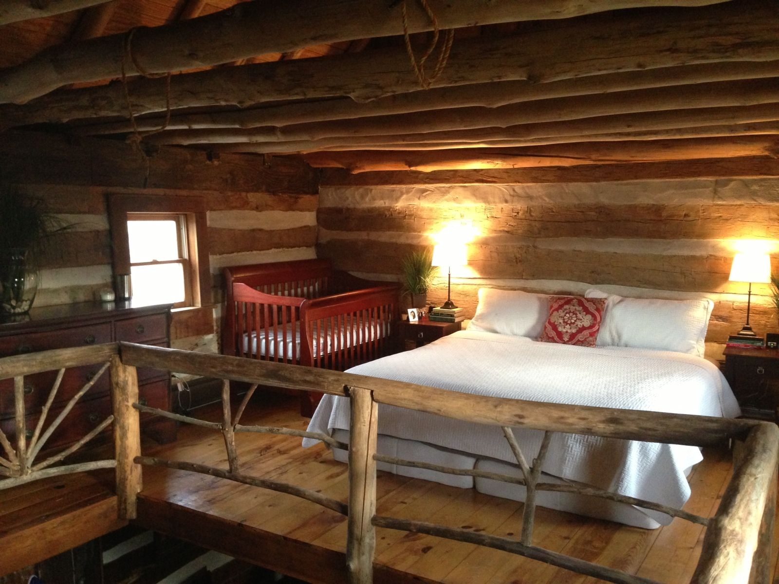 Parents log cabin loft present future home pinterest for Small cabins with loft