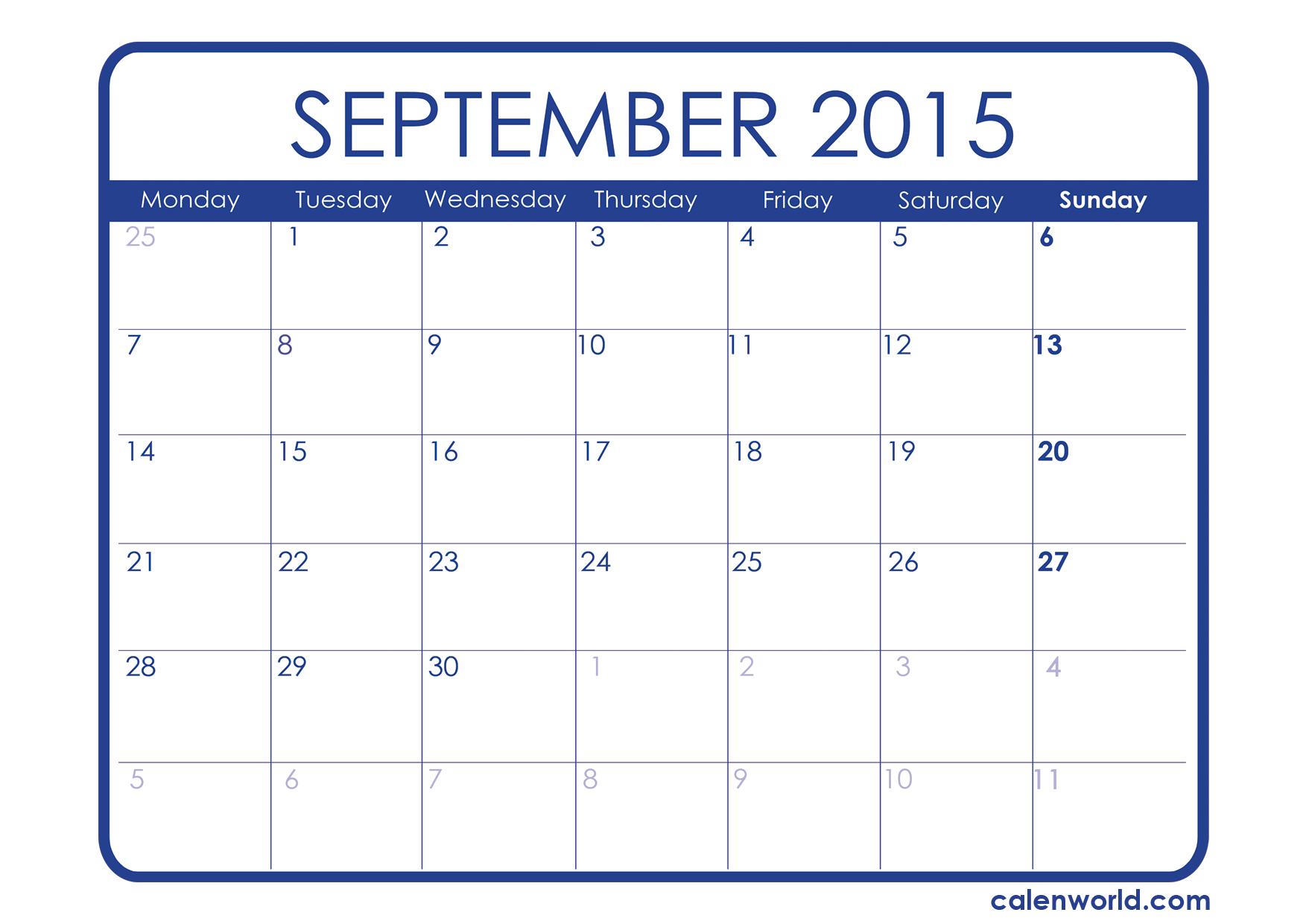 Blank Calendar Template September 2015 – September printable calendars
