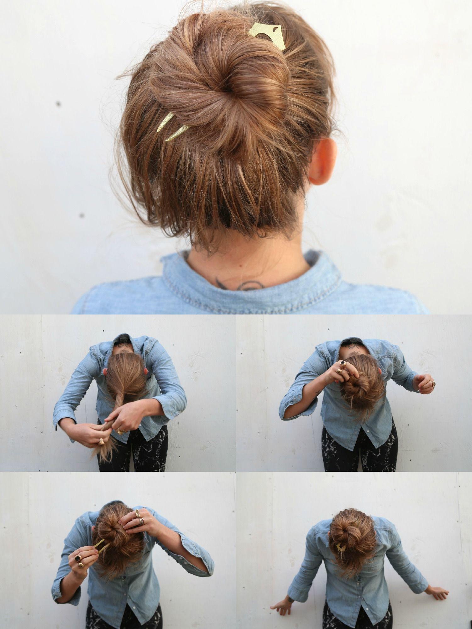 Прически с палочками для коротких волос