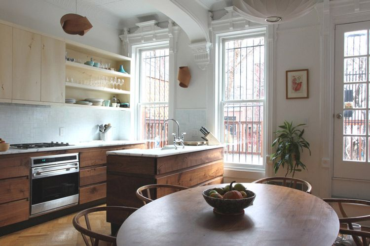Brownstone kitchen with mixed woods kitchen ideas for Brownstone kitchen ideas