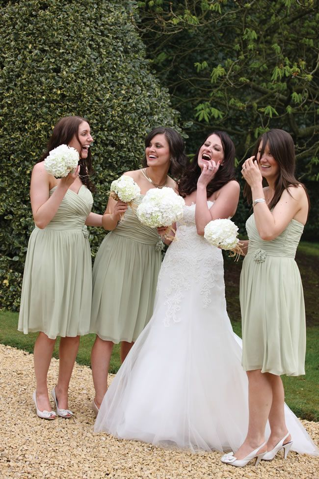 strapless bridesmaids dresses in pale green