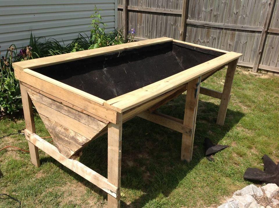 raised garden bed made from old pallets  Garden  Pinterest