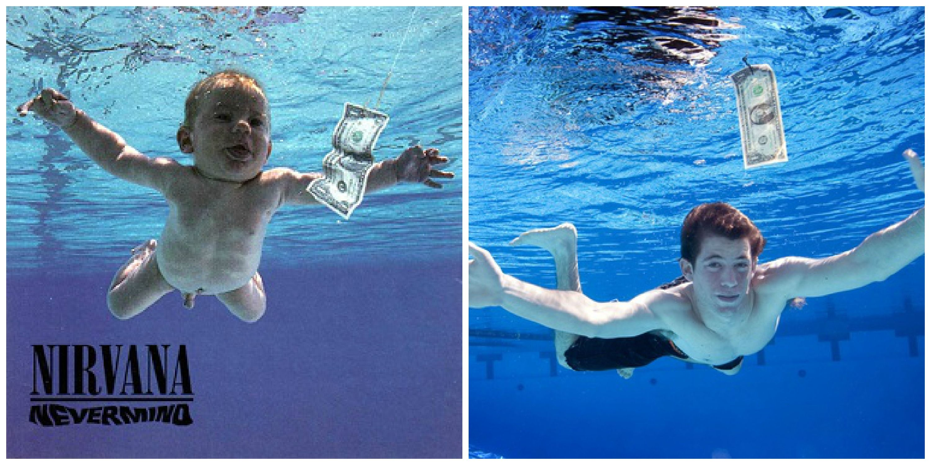 Spencer Elden, now 20, recreating the Nirvana Nevermind ...