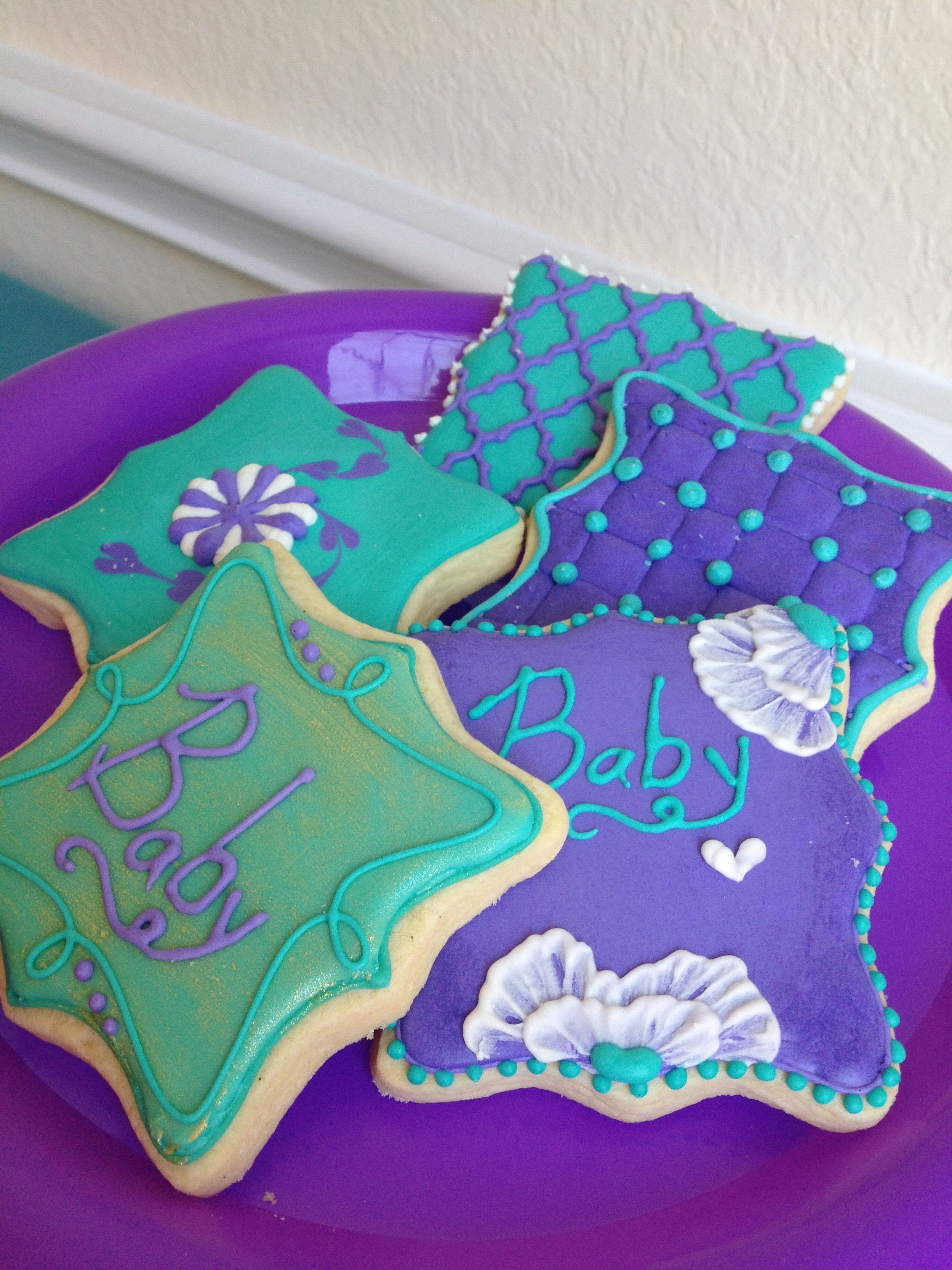 turquoise and purple baby shower cookies baby shower pinterest
