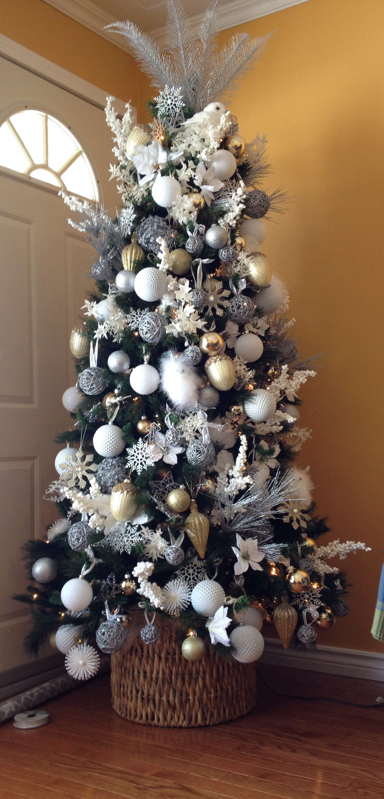 Christmas Tree Silver And White Christmas Pinterest