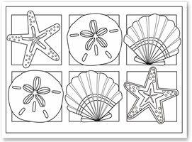 Printable Coloring Pages Seashells  Printable Editable Blank