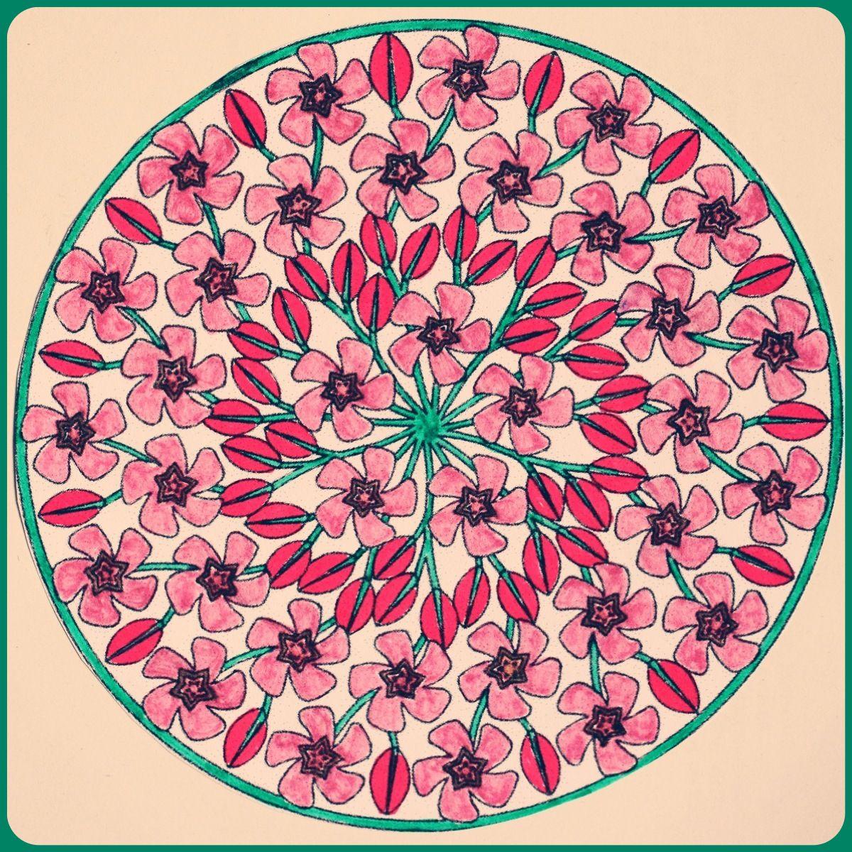 Pink Flowers Mandala Mandala