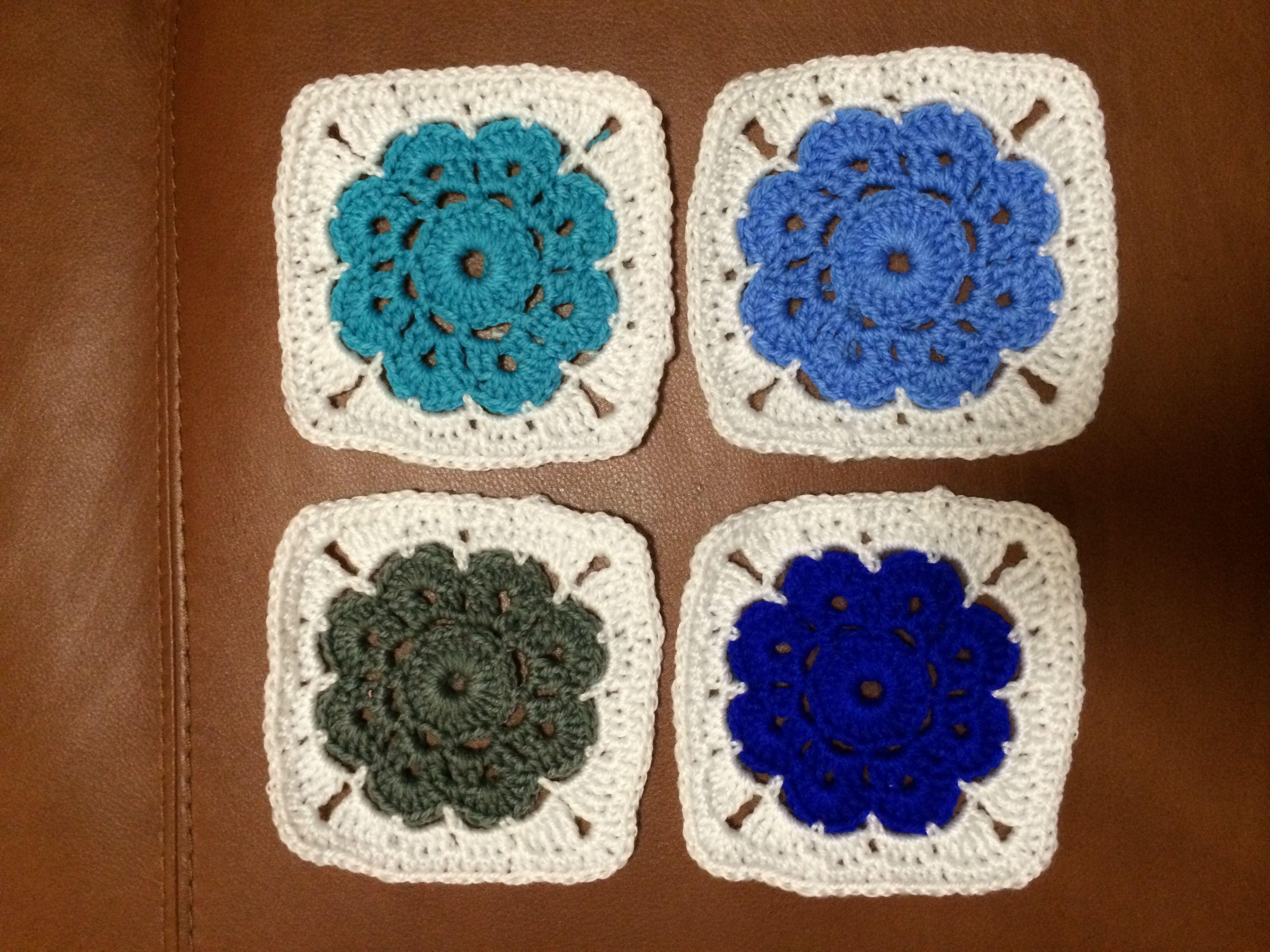 Maybelle flower crochet cool colours | Crochet | Pinterest