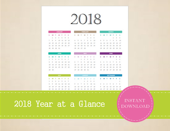 2018 Year At A Glance Full Year Calendar by MBucherConsulting ...