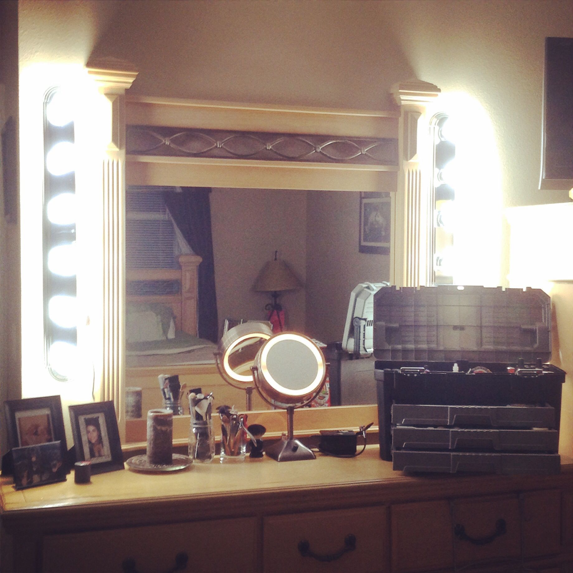 DIY Vanity Lights With Dresser Mirror Makeup Pinterest