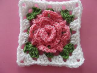 crochet rose granny square Crochet Pinterest
