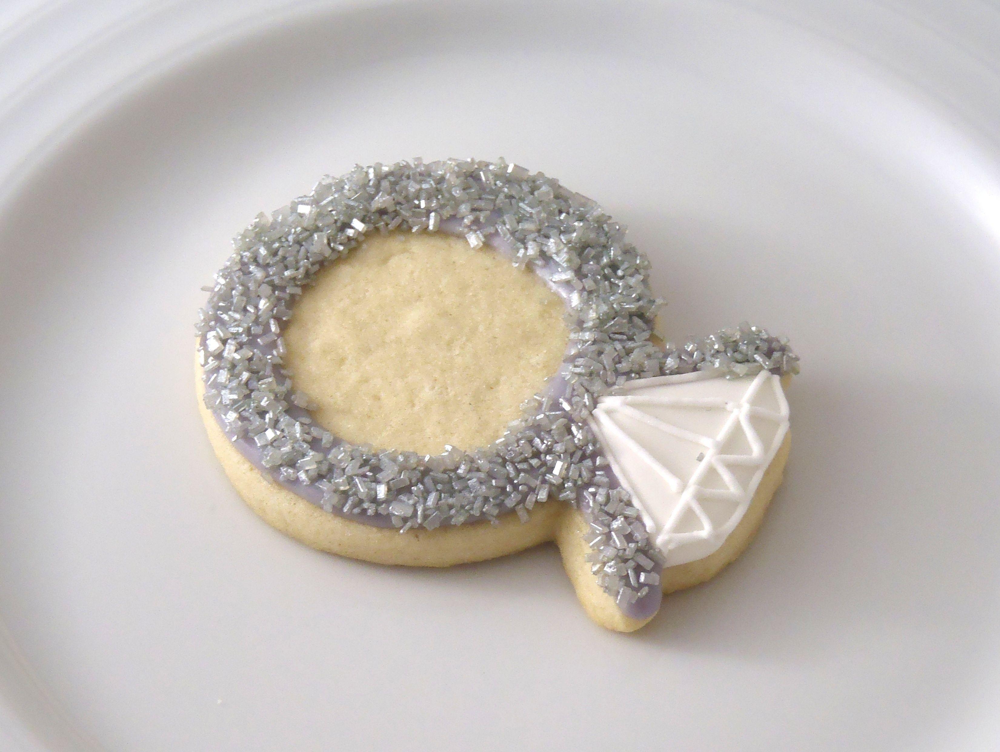 engagement ring cookie favor sugar cookies