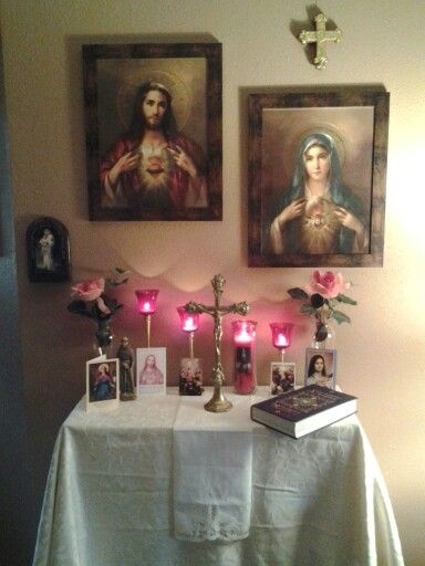 Pin by st catherine catholic culture center on home altar ideas pi - Home altar designs ...