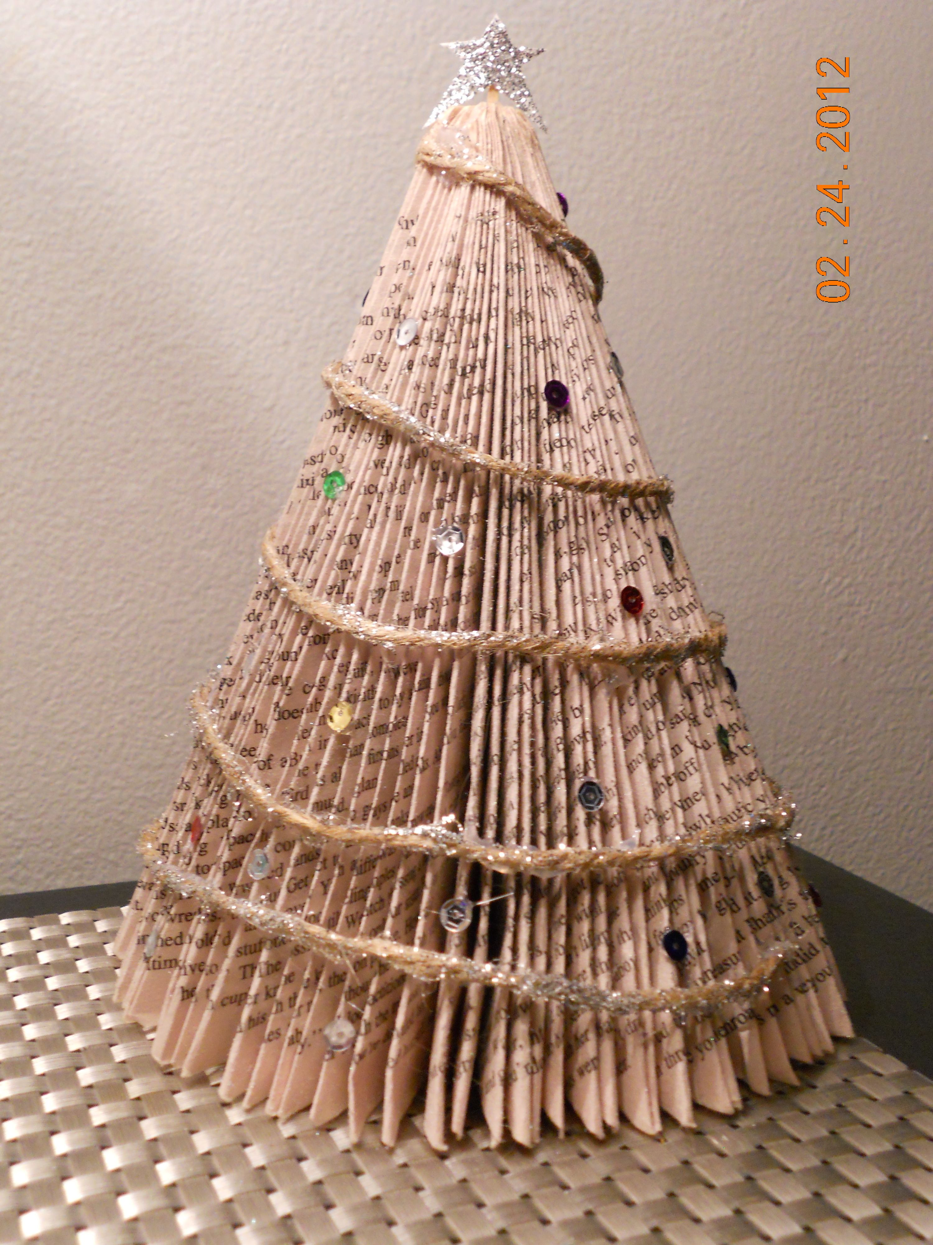 Book christmas tree christmas pinterest for Christmas tree made from old books