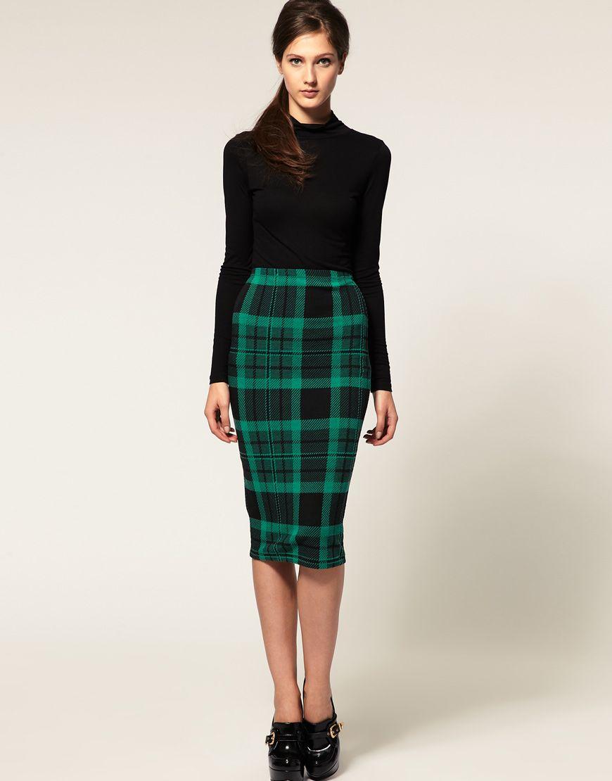 asos pencil skirt green plaid you betta work