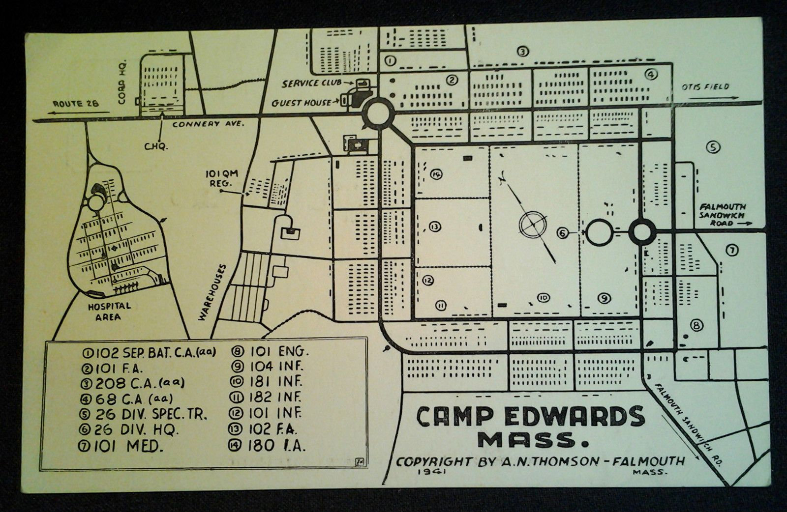 1941 Map Of Camp Edwards Falmouth Military Thru 1950