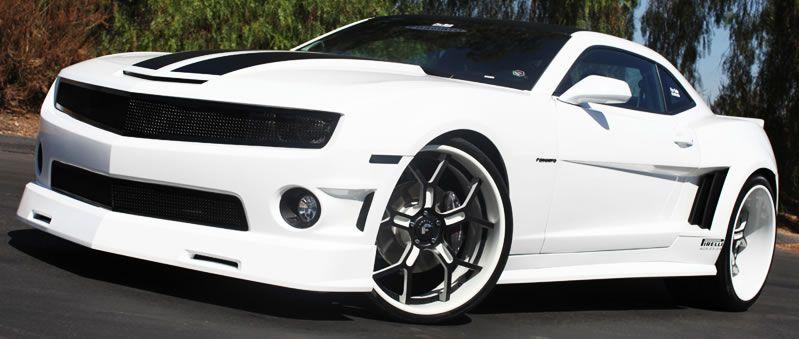 White Camaro with Custom Wheels