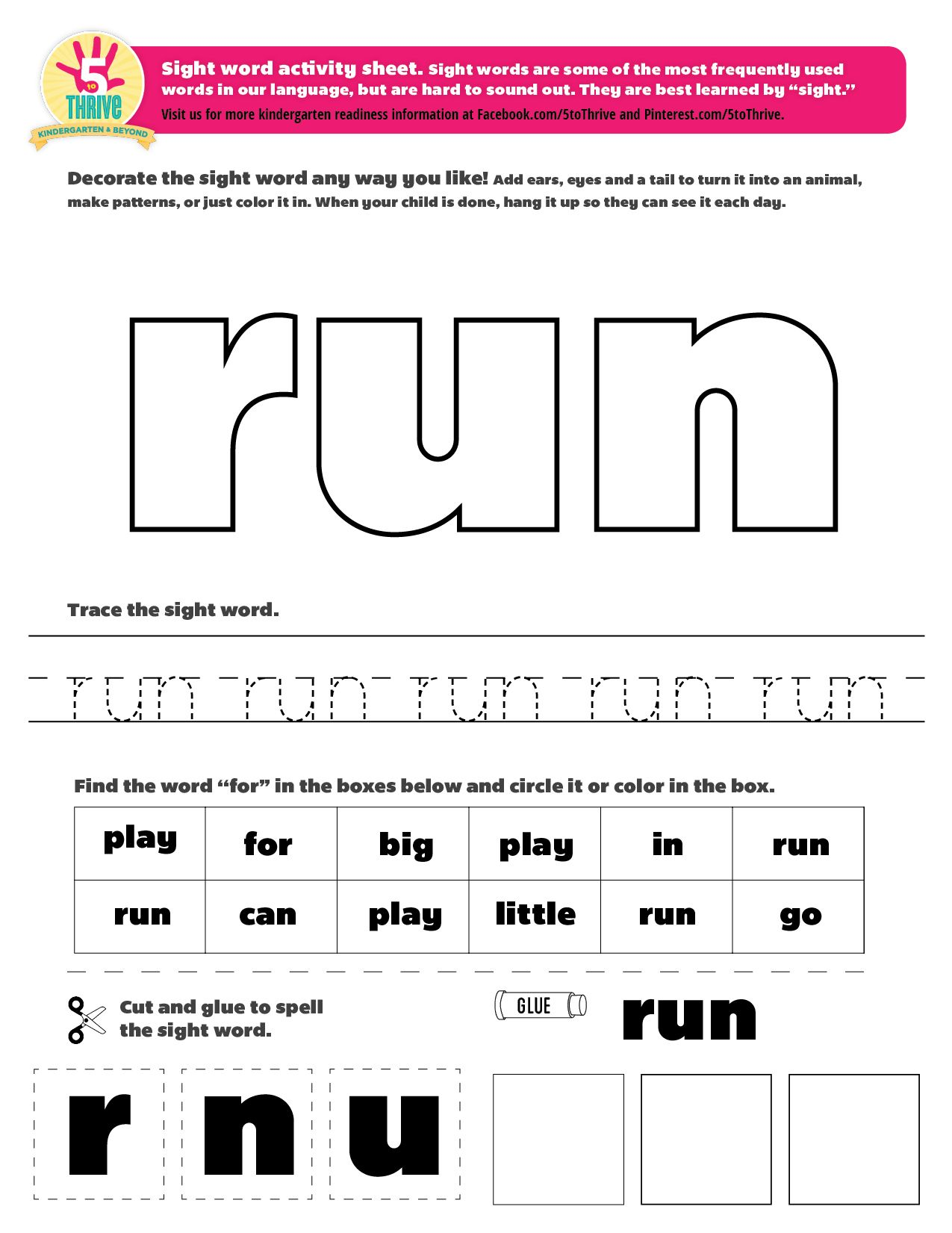 word Pin more! Pinterest printables  run 5 sight to word and on sight  Thrive by  worksheet