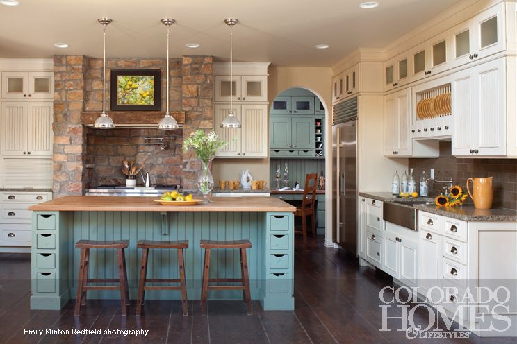 Teal kitchen, wood floor  Kitchens  Pinterest