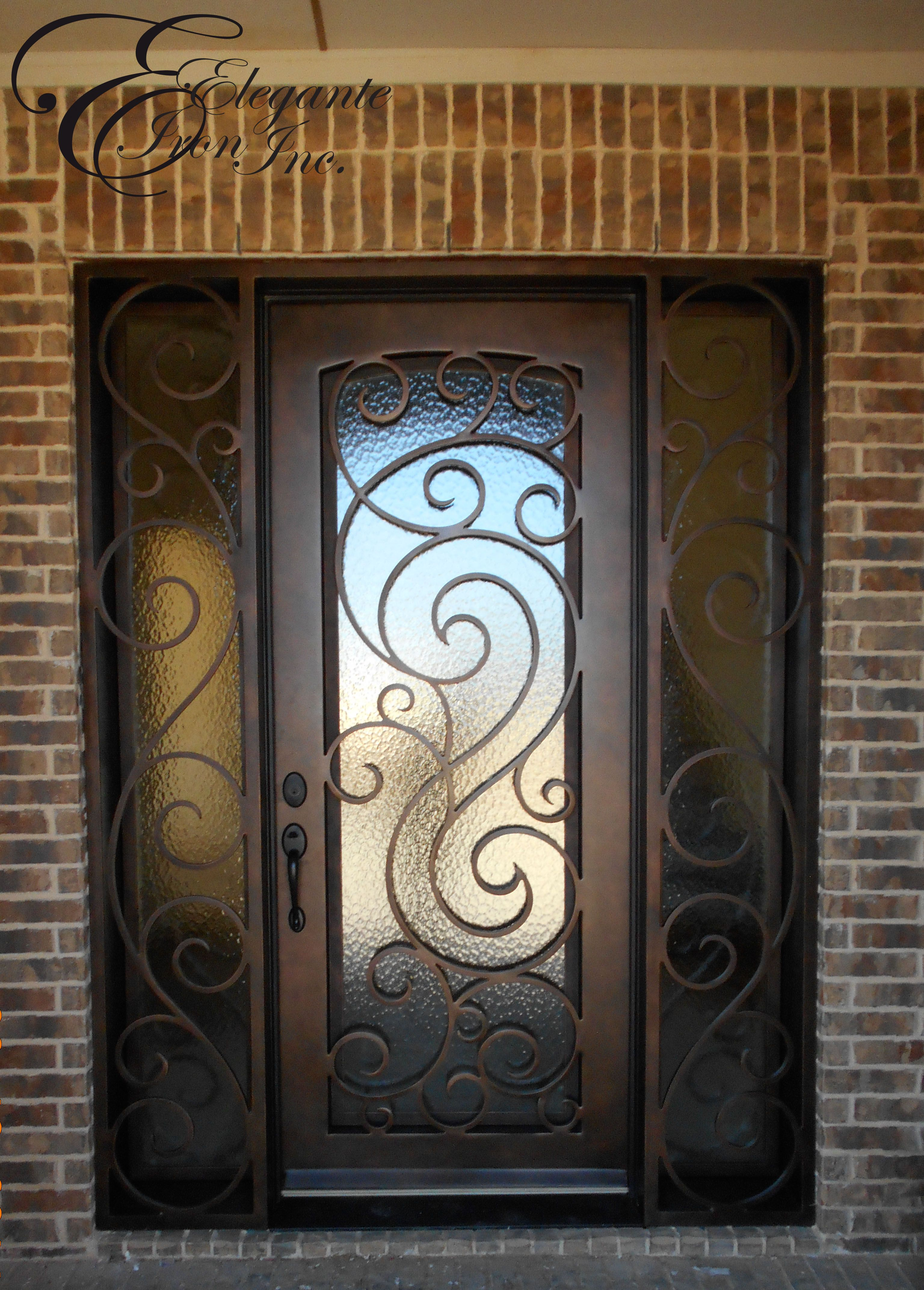 4288 #356F96 Wrought Iron Door With Side Lights. Single Doors Pinterest image Wrought Iron And Wood Doors 40033072