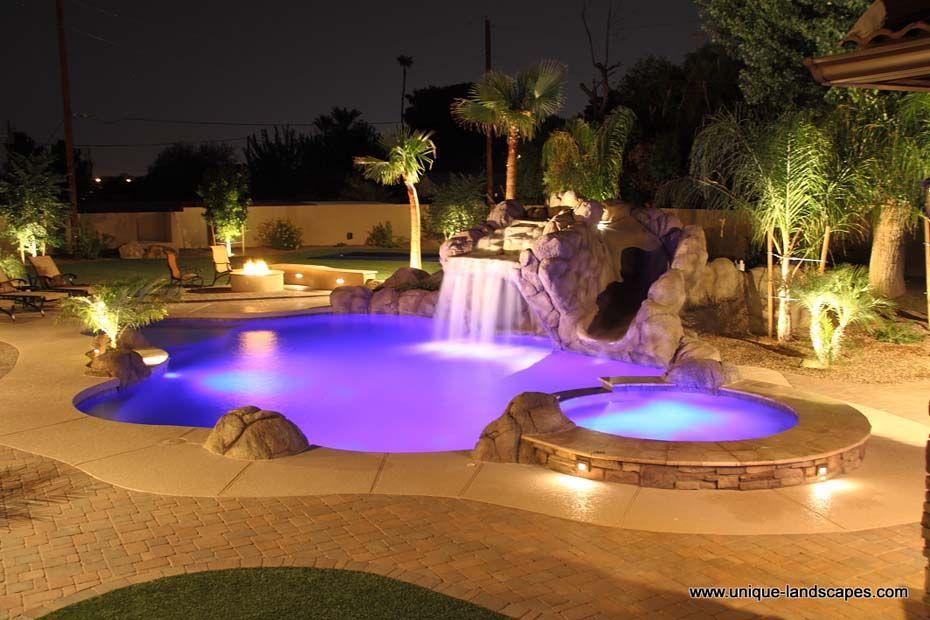 pool at night  Backyard landscape design ideas  Pinterest