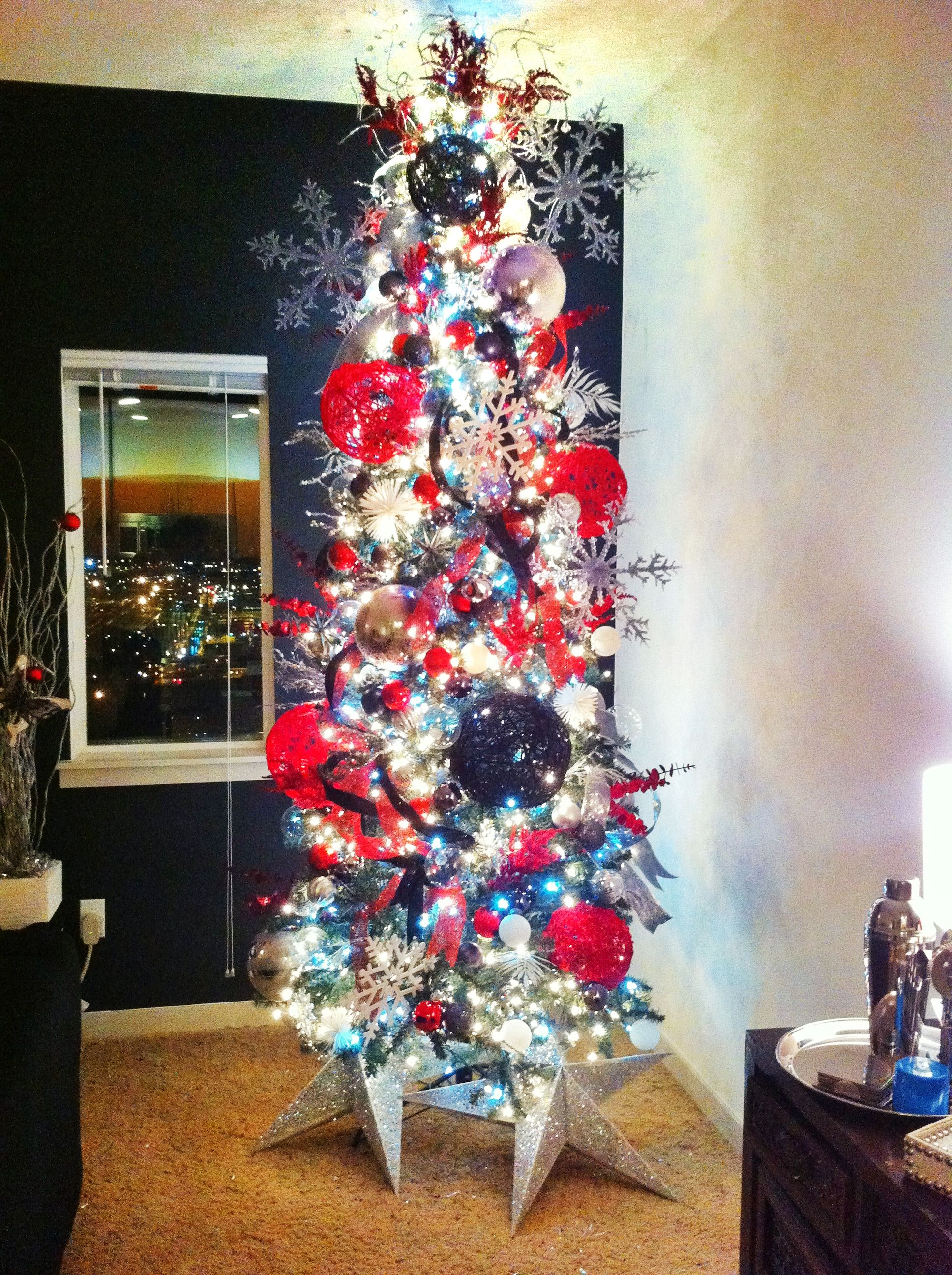 Red black and silver christmas tree holiday pinterest - Black and silver christmas ...