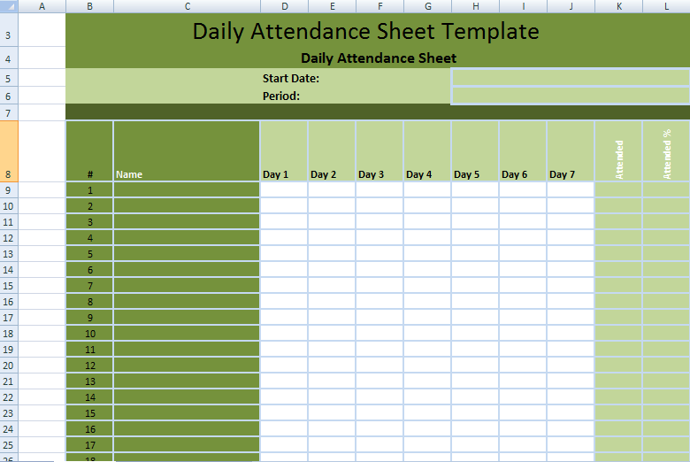 Attendance Sheet With Time In Excel Printable Editable Blank – Office Attendance Sheet Excel Free Download