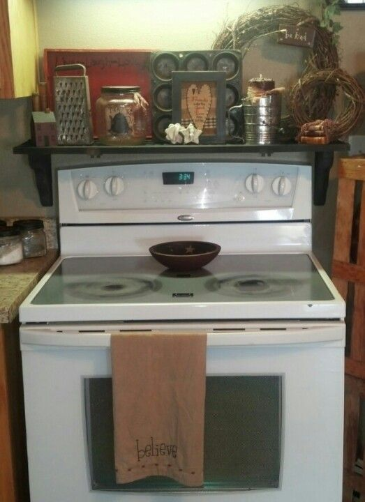Shutter shelf over stove primitive pretty pinterest