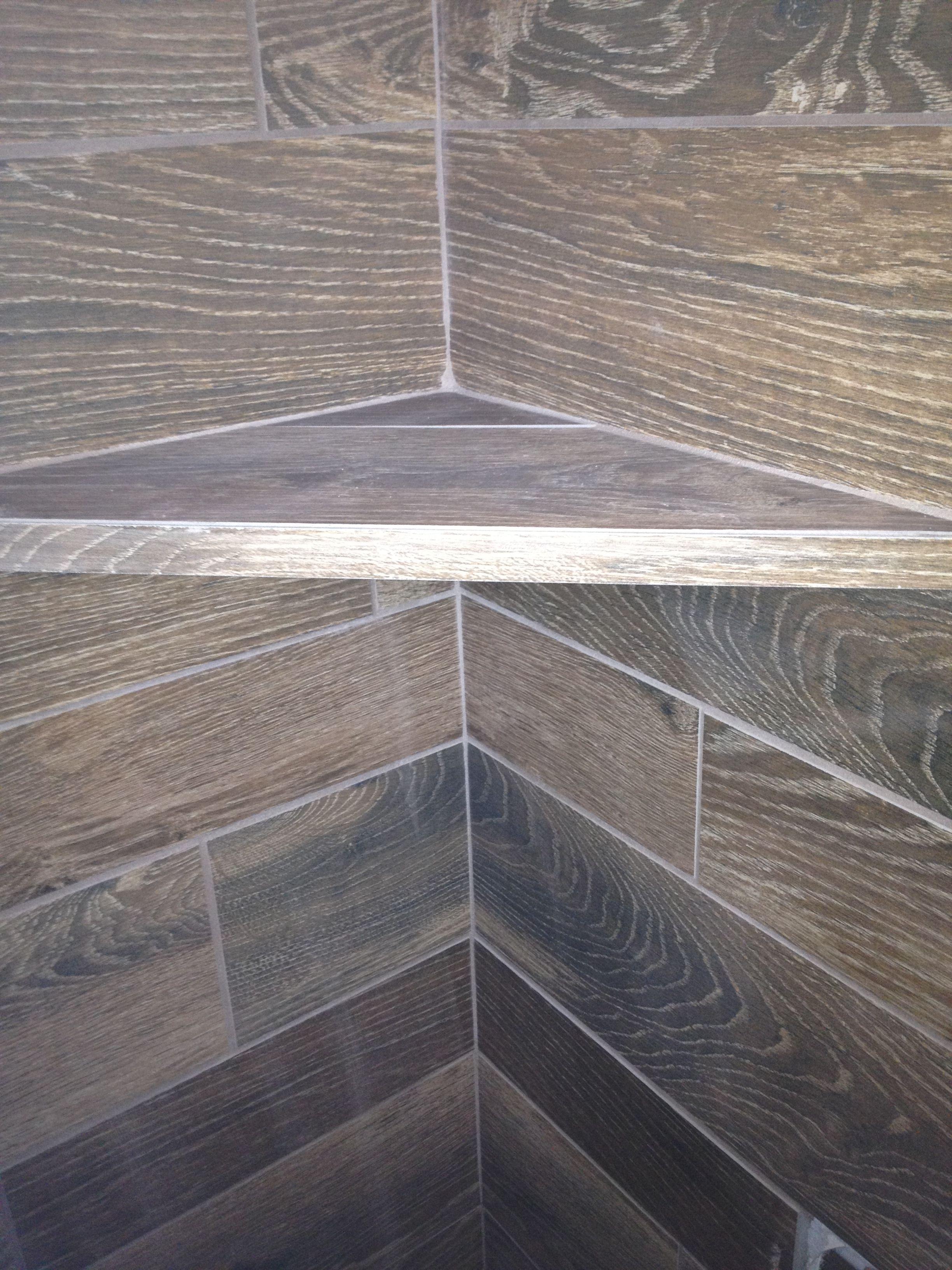 Wood Tile Shelf In Shower Bathrooms Pinterest