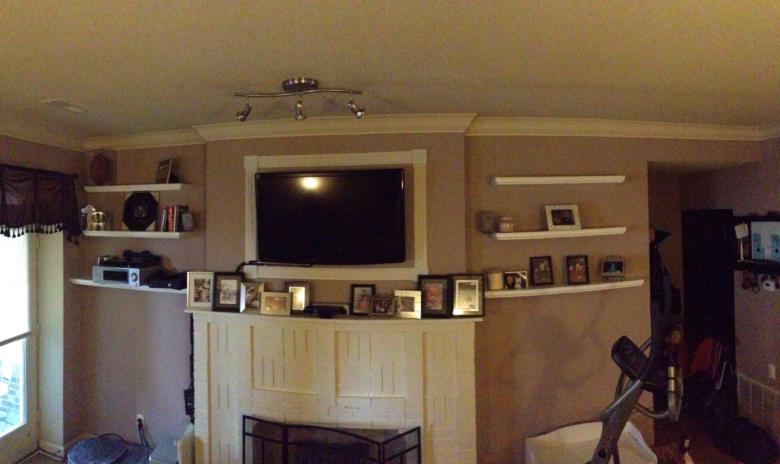 floating bookshelves next to fireplace living room pinterest. Black Bedroom Furniture Sets. Home Design Ideas