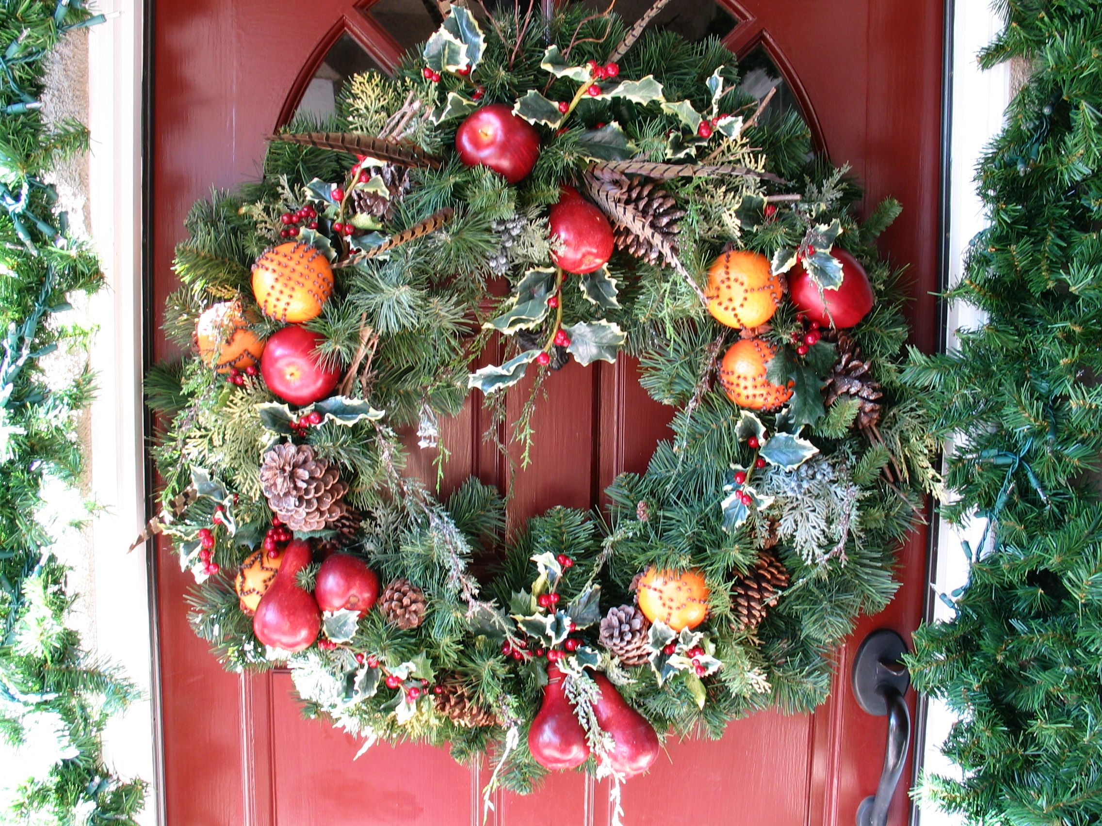 Williamsburg style wreath by cattknap wreaths door Christmas wreath decorations