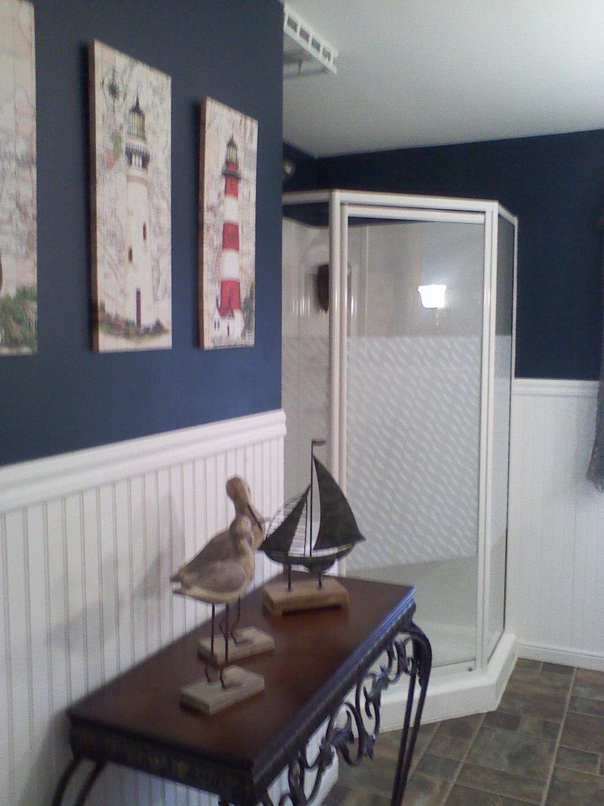 Nautical bathroom theme beach decor pinterest for Lighthouse bathroom ideas