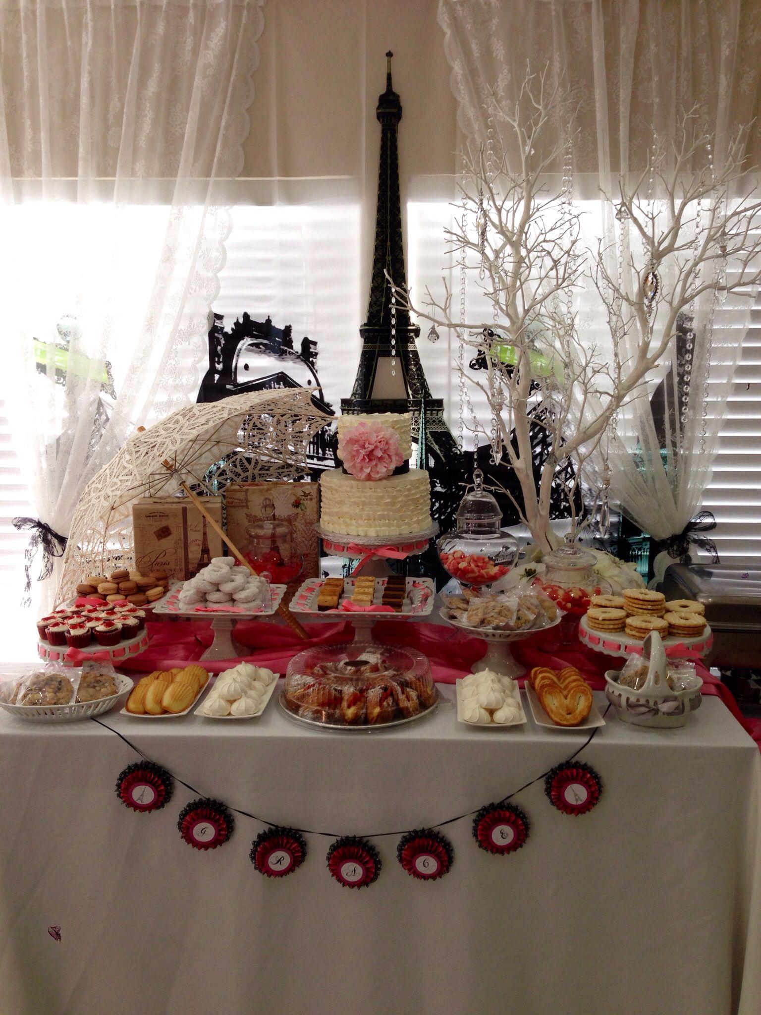 Paris theme dessert table caelas party pinterest for Paris themed desserts