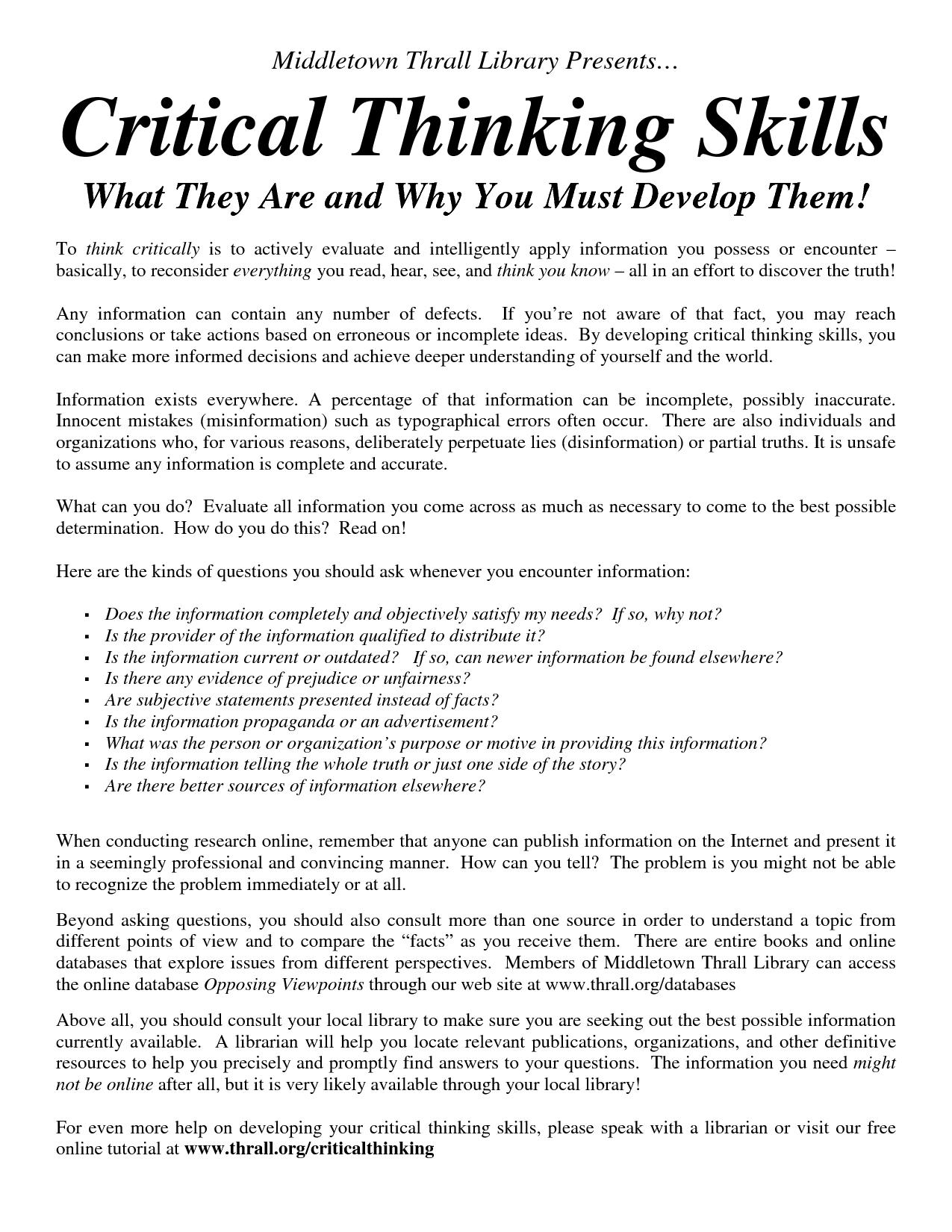 Essay on critical thinking skills
