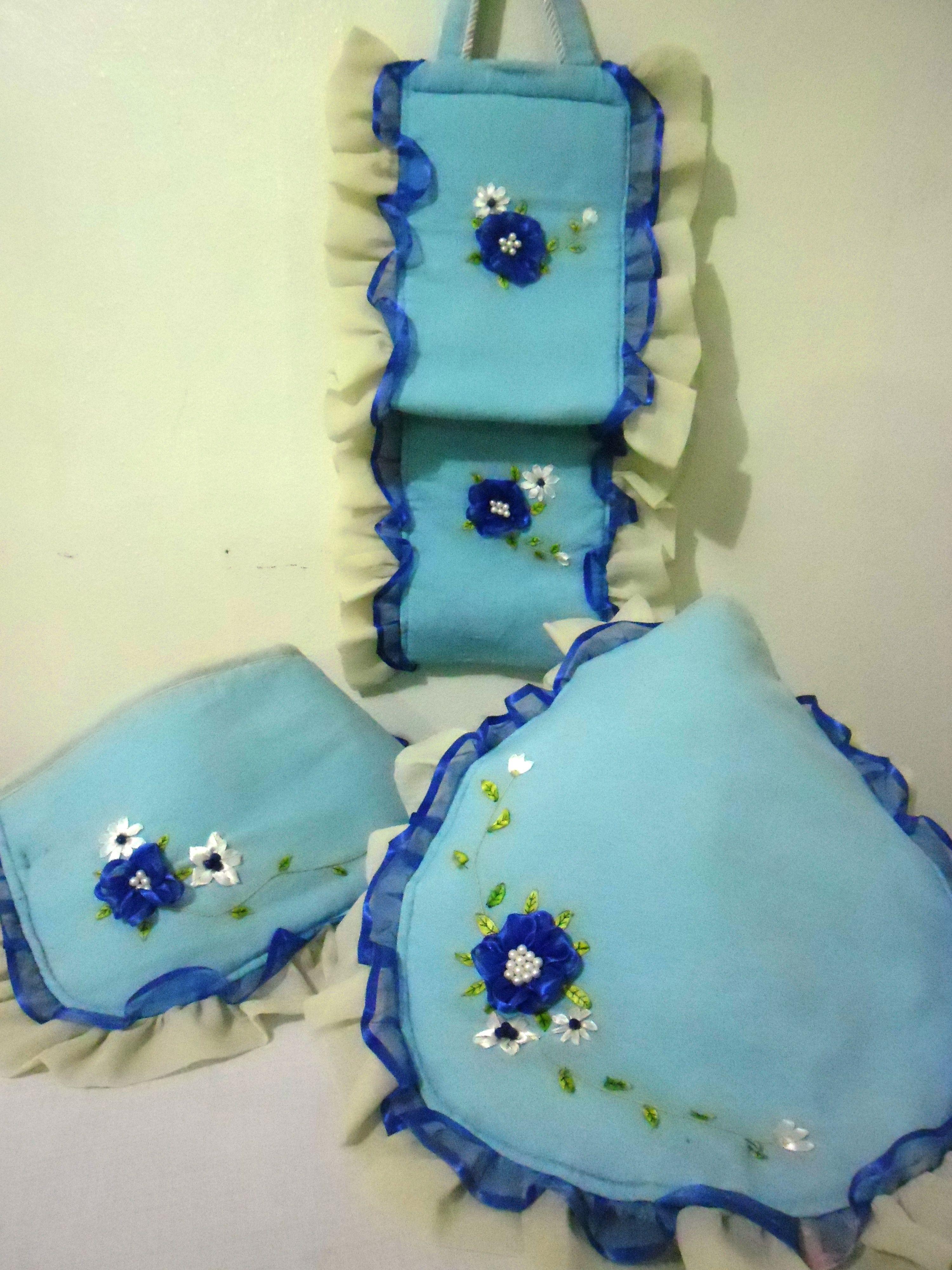 Decoracion De Baños Azules:JUEGO DE BAÑO ROSAS AZULES