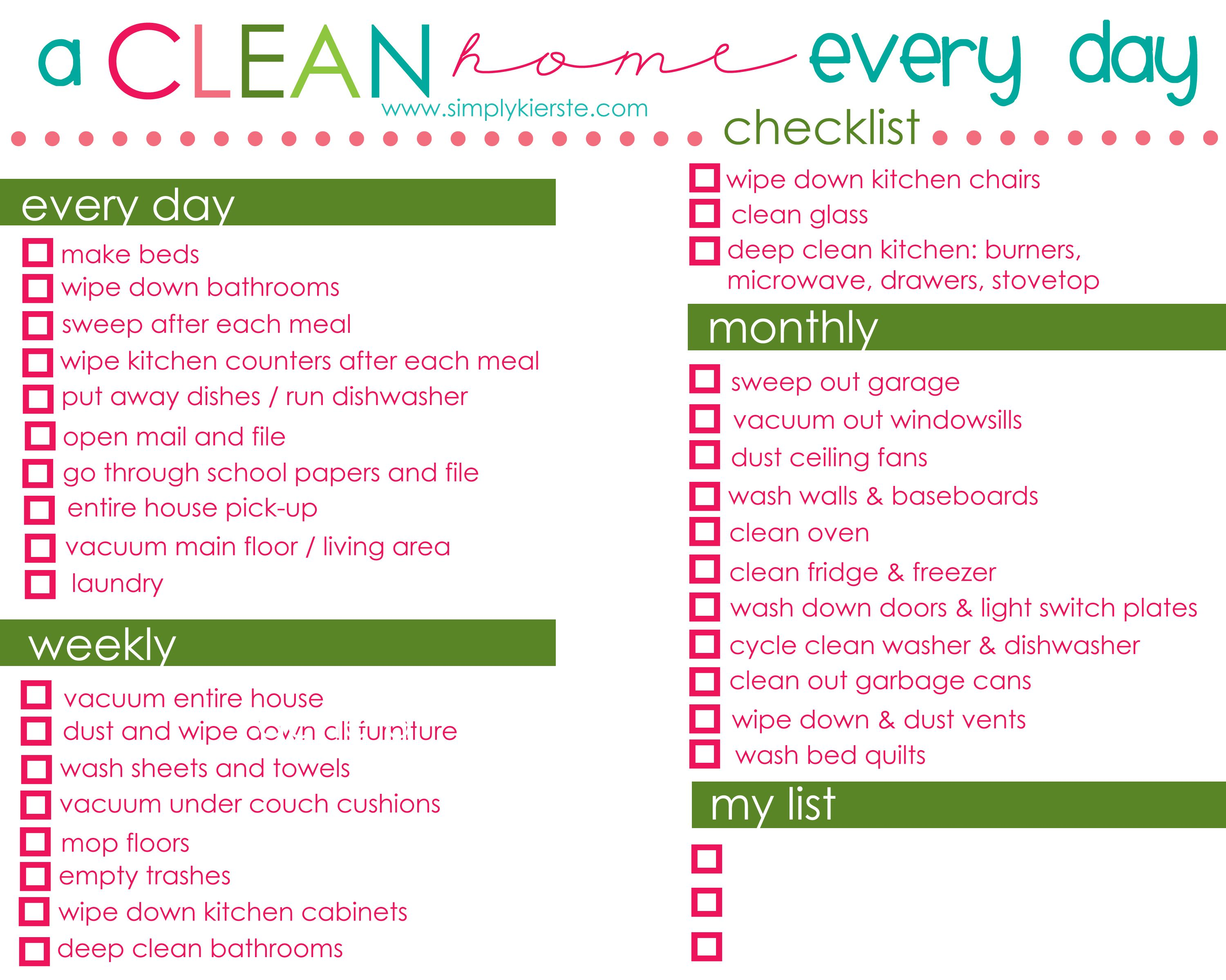 Daily Cleaning Schedule Printable – Printable Editable Blank ...