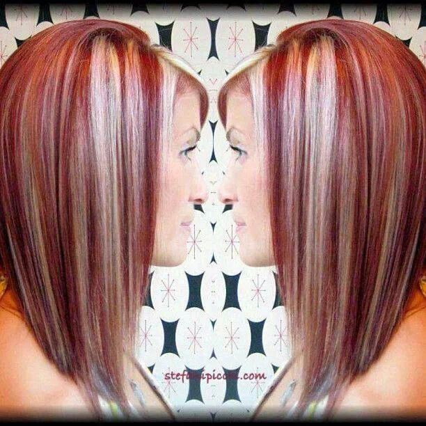 Red hair with blonde highlights | Hair ~ Color/Streaks | Pinterest