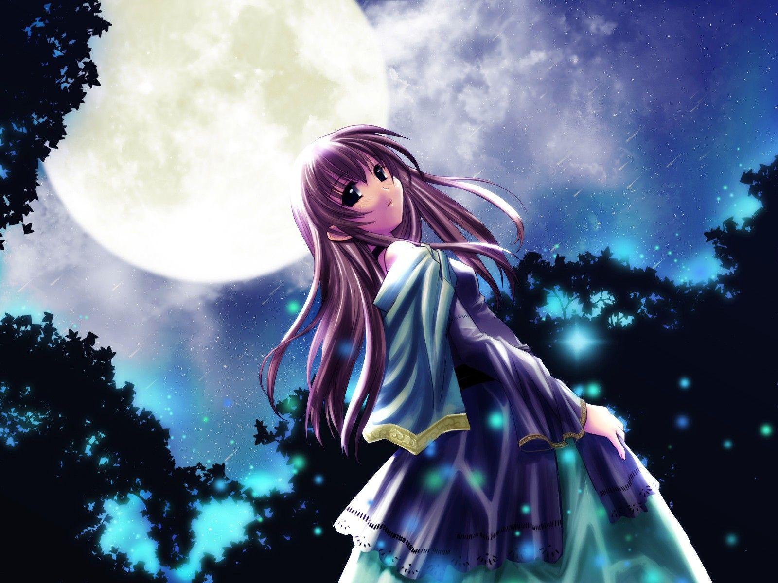 Anime girl at night anime girls pinterest