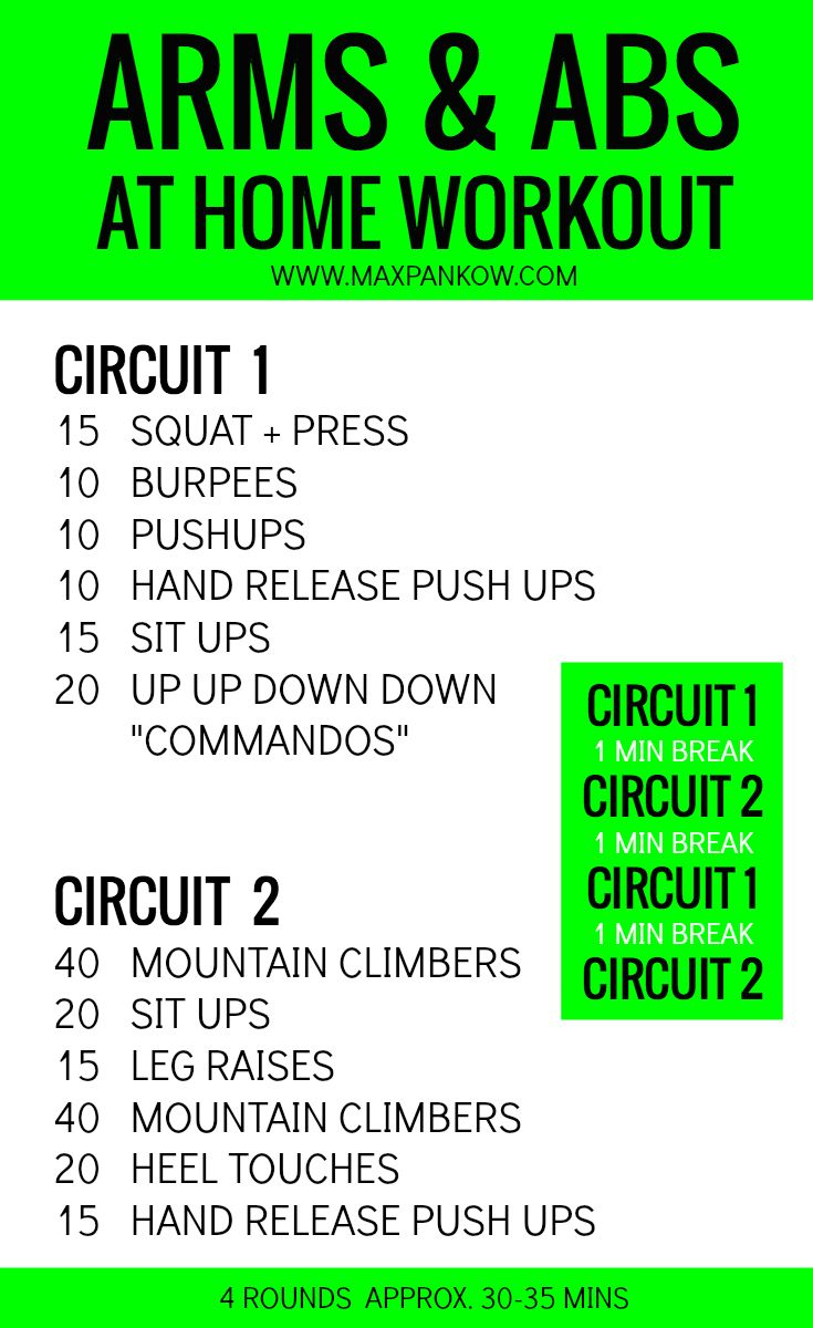 Arms And Abs At Home Workout Workouts Circuits