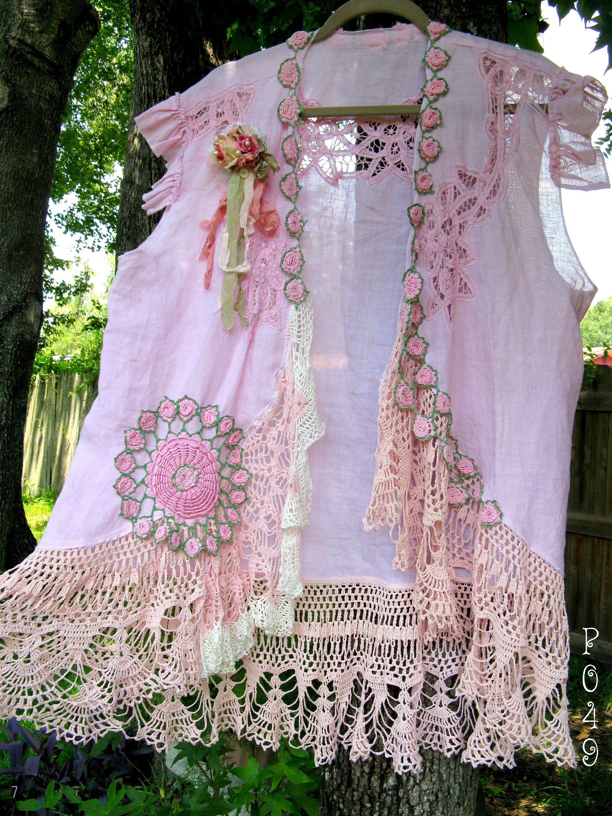 gypsy boho linen jacket lots of things made with doilies and linen tablecloth or crocheted. Black Bedroom Furniture Sets. Home Design Ideas