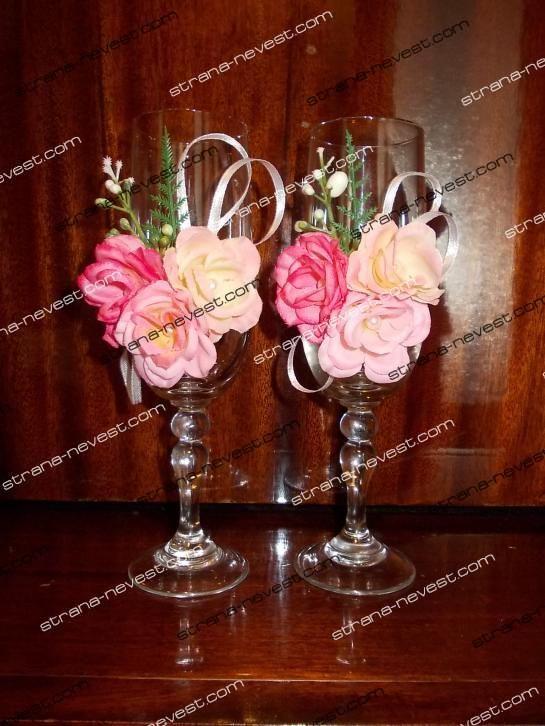 Свадебные бокалы своими руками с искусственными цветами bottiglie e bicchieri decorati Pinterest
