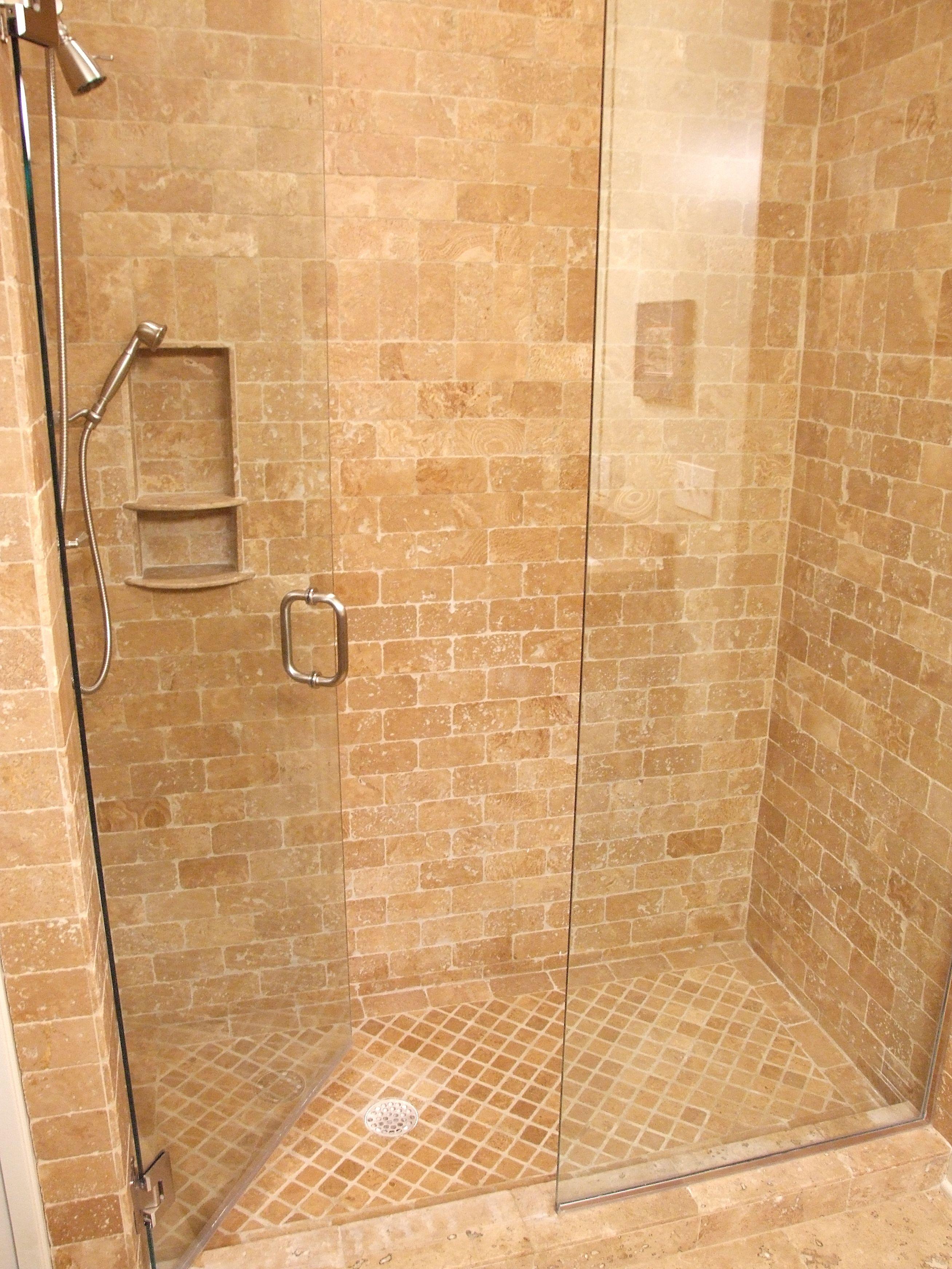 travertine shower with glass wall shower ideas pinterest
