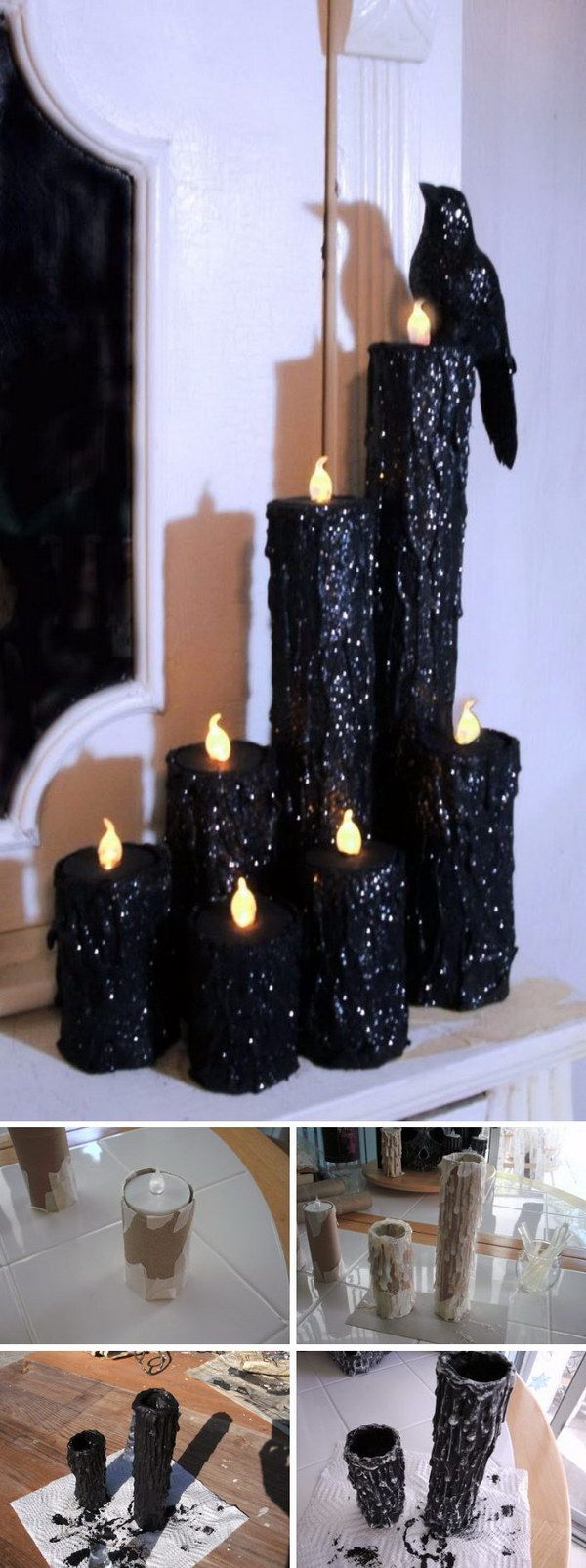 DIY Halloween Creepy Candles. Paper towel rolls, hot glue, battery tea lights, paint, glitter… I can see this tailored for