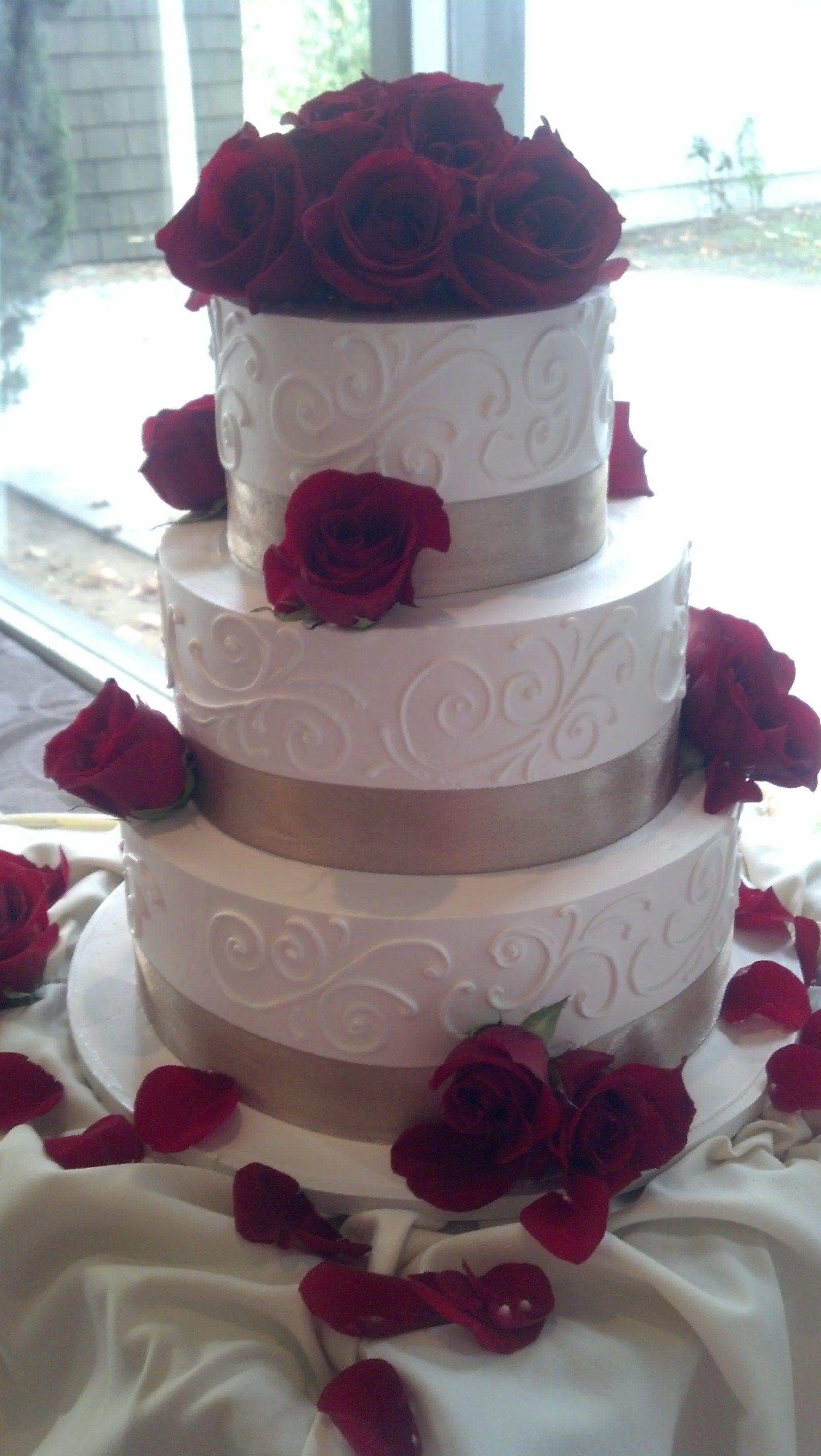 Elegant Piping and Ribbon 3 Tier Cake