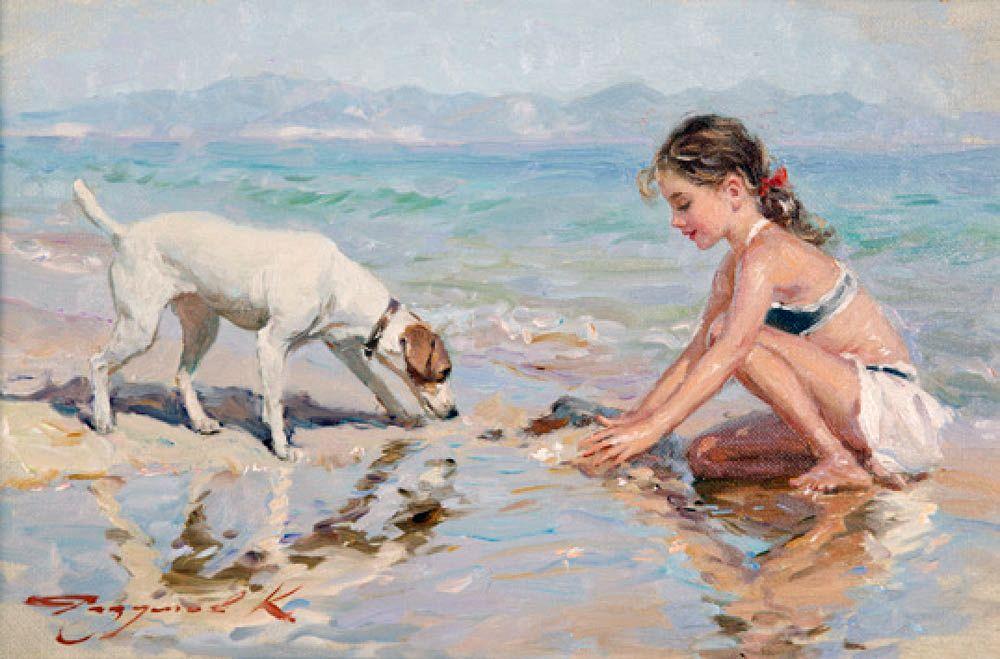 Обнаженная Женщина Пляже Ребенка